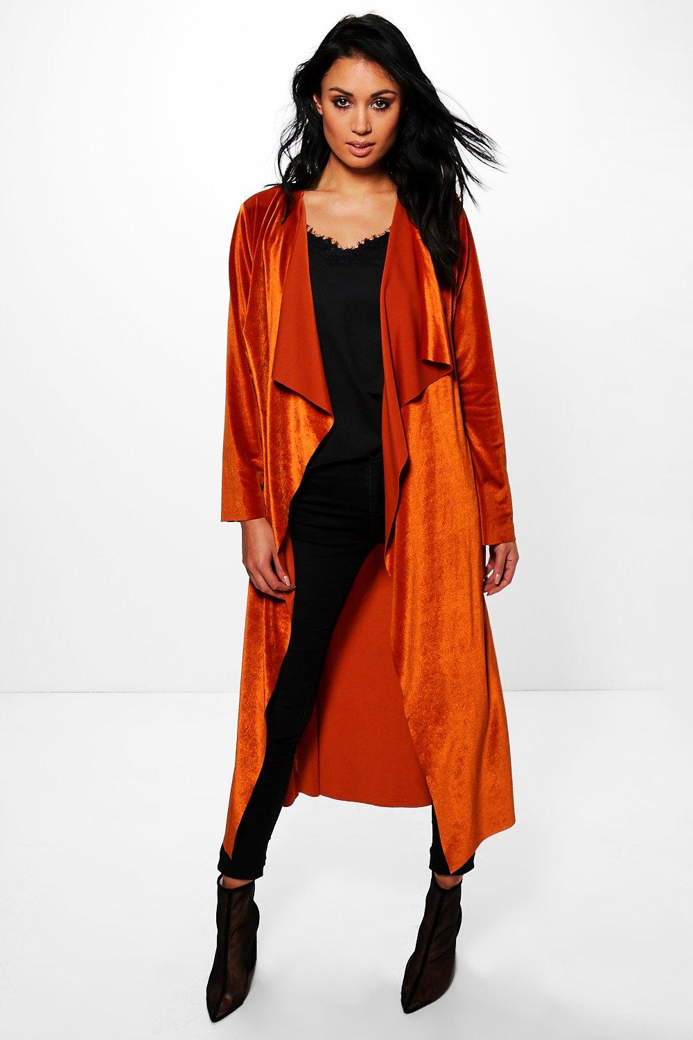 Rubie Velvet Waterfall Longline Belted Duster