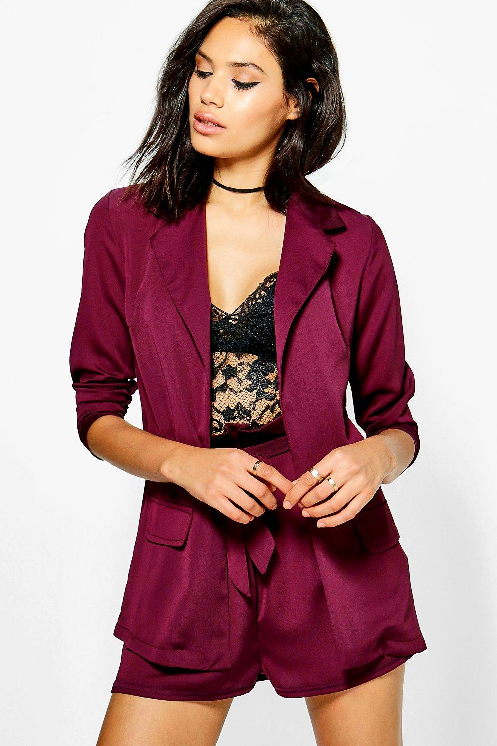 Megan Satin Woven Tailored Blazer