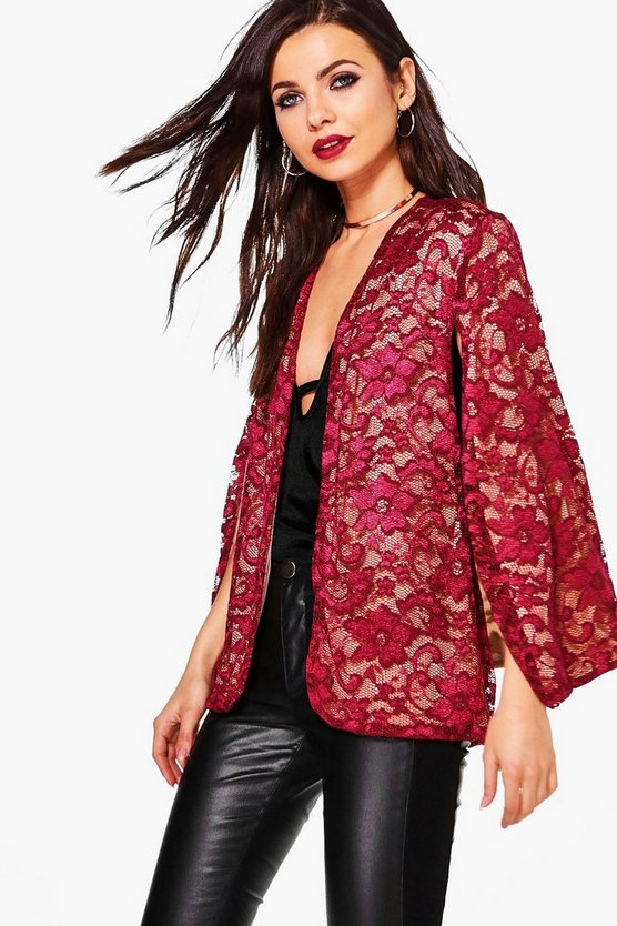 Abigail Lace Tailored Cape Blazer