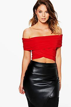 Shona Wrap Front Off The Shoulder Crop