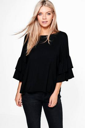 Connie Double Frill Sleeve Oversized Top