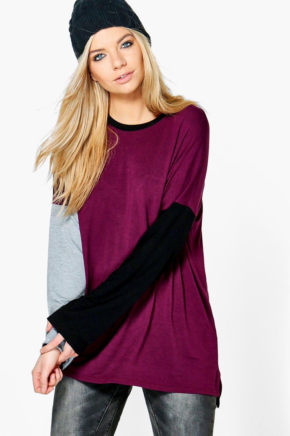 Phillipa Contrast Colour Block Oversized T-Shirt