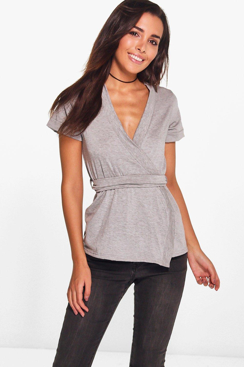 Tegan Wrap Over Tie Front Short Sleeve Top