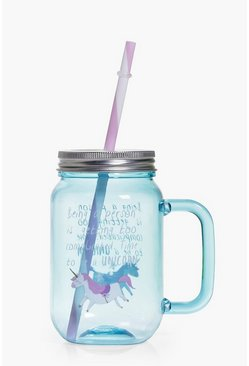 Blue Unicorn Mason Jar With Straw
