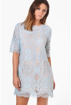 Fasia Crochet Lace Short Sleeve Shift Dress