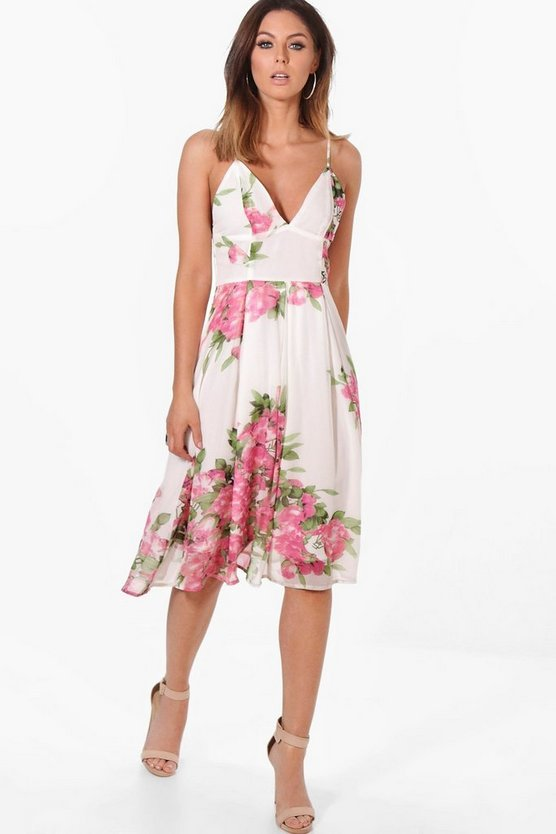 Boutique Marie Floral Border Midaxi Skater Dress