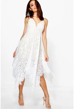 Boutique Amy Eyelash Lace Plunge Midi Dress