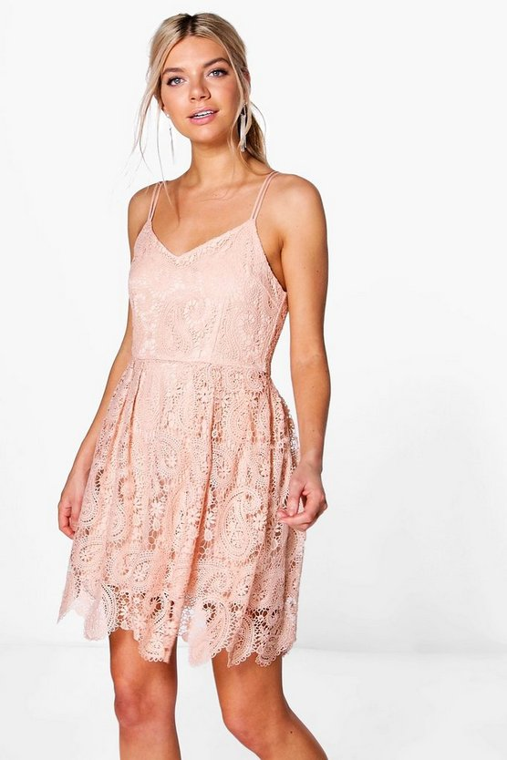 Boutique Tasha Scallop Lace Skater Dress