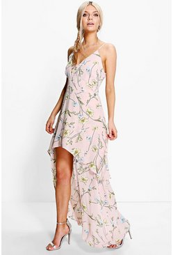 Zoey Floral Dip Hem Skater Dress