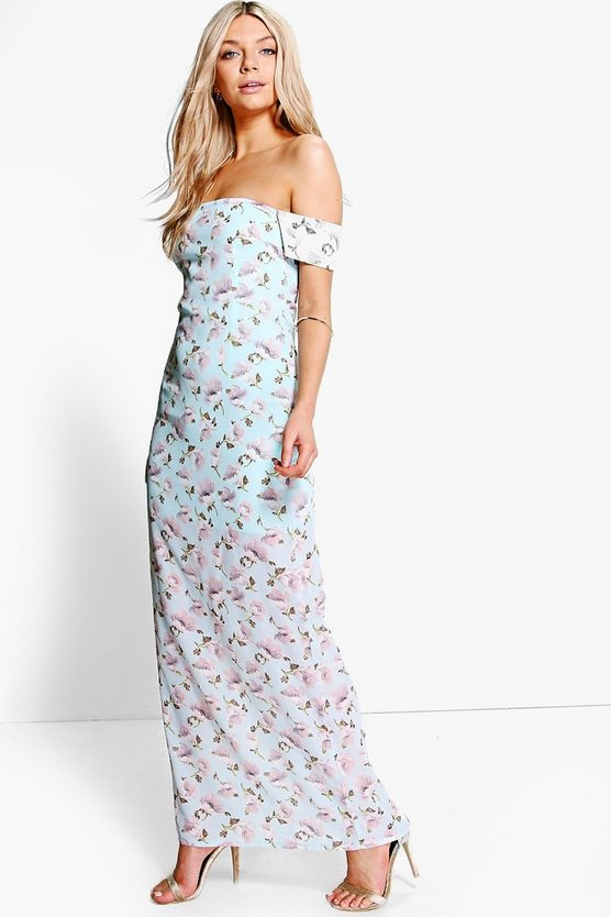 Becca Floral Print Off Shoulder Maxi Dress