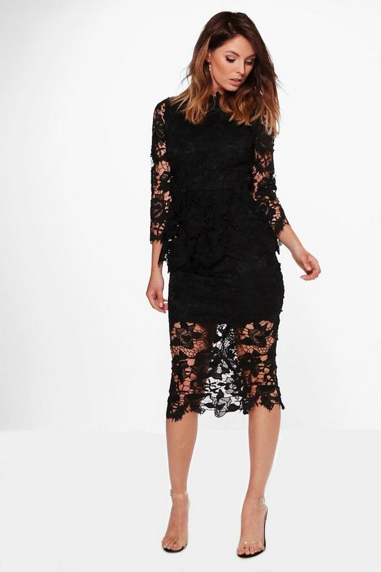 Boutique Kia Corded Lace Peplum Midi Dress