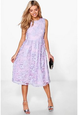 Boutique Agi Embroidered Midi Skater Dress