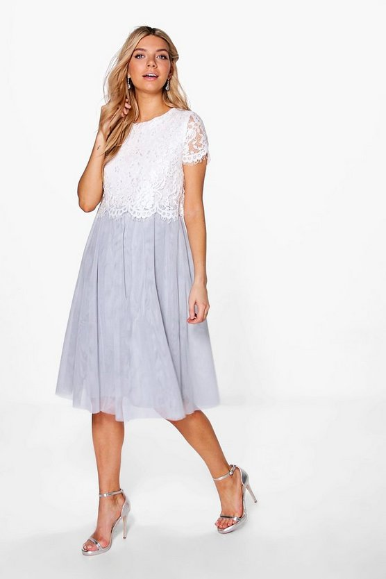 Boutique Ria Lace Tulle Midi Skater Dress