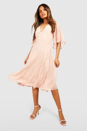 Blush Chiffon Angel Sleeve Midi Skater Bridesmaid Dress