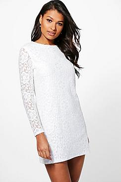 Ismita Lace Long Sleeve Shift Dress