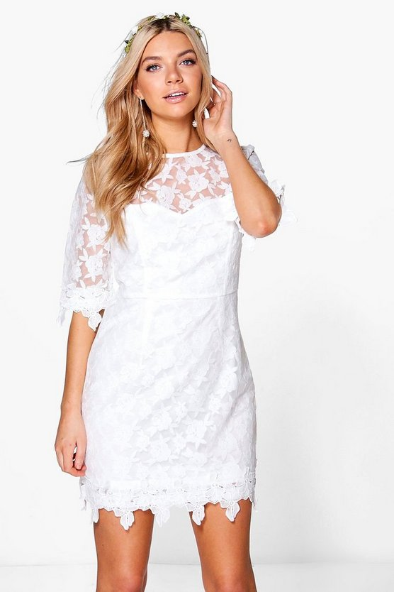 Tanzy Lace Crochet Applique Bodycon Dress