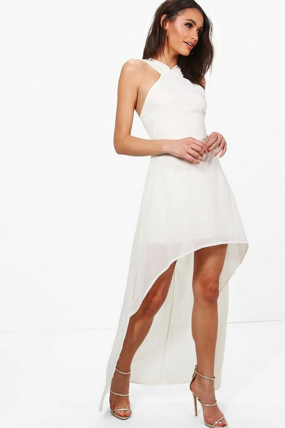 Riena Chiffon Strappy Dip Hem Midi Dress