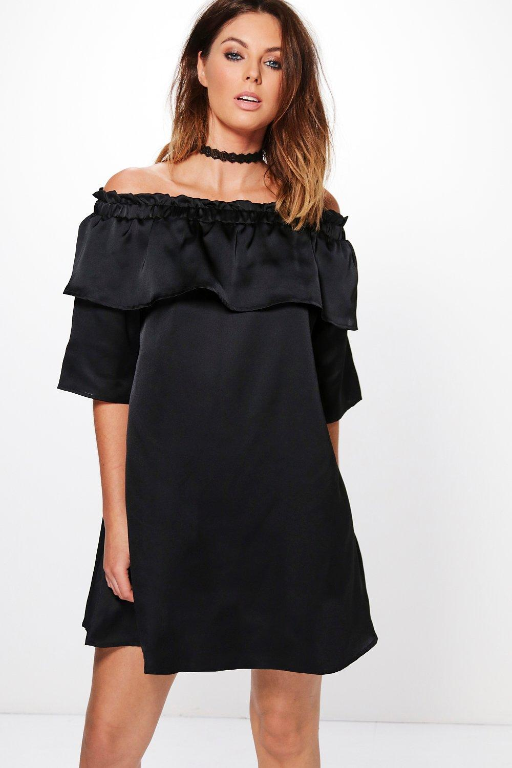 Click to view product details and reviews for Satin Off Shoulder Frill Shift Dress Black.