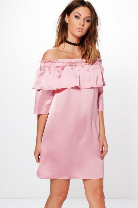 Irene Satin Off Shoulder Frill Shift Dress