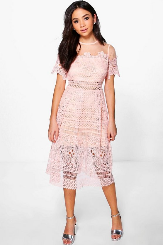 Boutique Cary Lace Mesh Midi Skater Dress