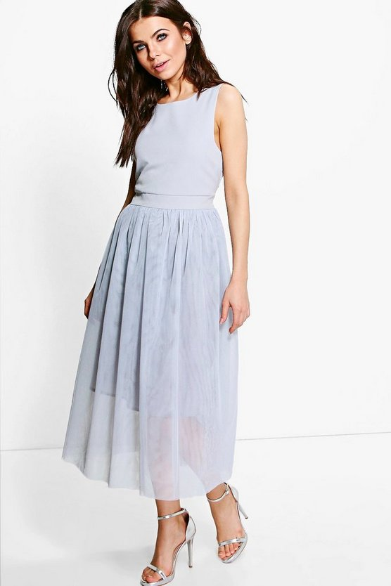 Boutique Lana Woven Tulle Midi Skater Dress