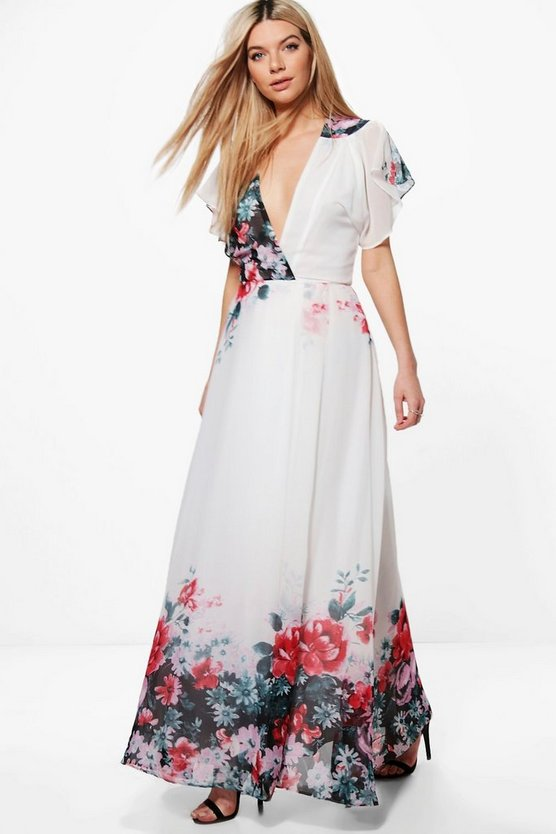 Boutique Eva Border Print Kimono Maxi Dress