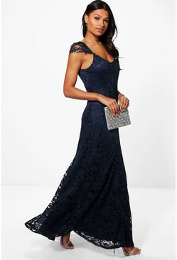 Boutique Inara Lace Cap Sleeve Maxi Dress