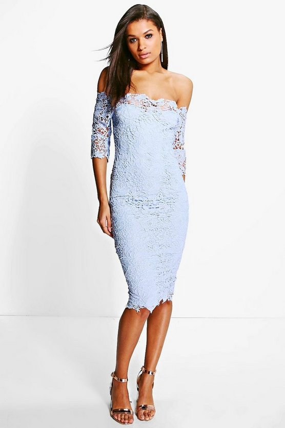Boutique Mi Crochet Off Shoulder Midi Dress