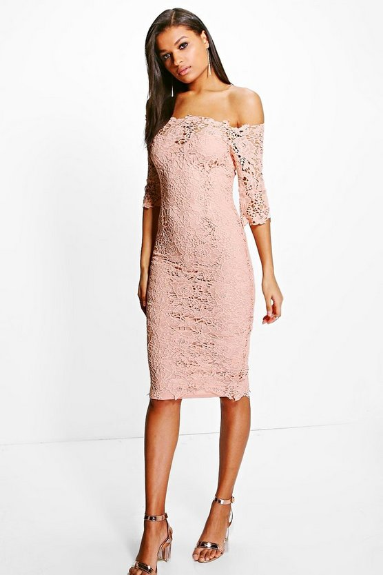 Boutique Crochet Off Shoulder Midi Dress