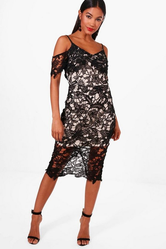 Boutique Jamie Corded Lace Midi Dress