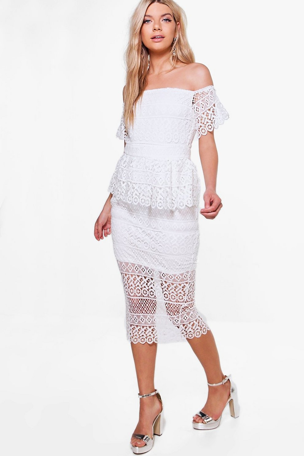 Boohoo Boutique Lace Peplum Midi Dress Free Shipping Factory Outlet Buy Cheap 2018 New Sale View Wiki Cheap Online xDmzNgm