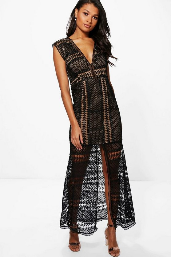 Boutique Anna Corded Lace Panelled Maxi Dress