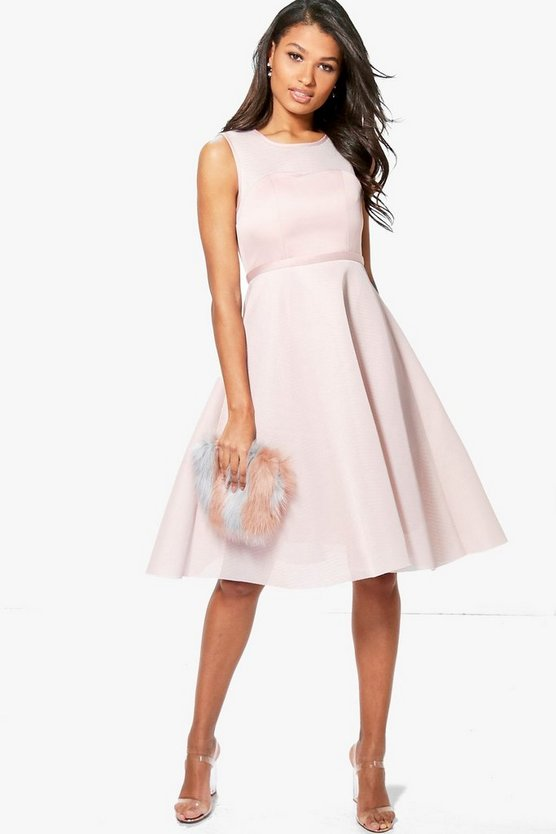 Boutique Aida Mesh Sweetheart Midi Skater Dress