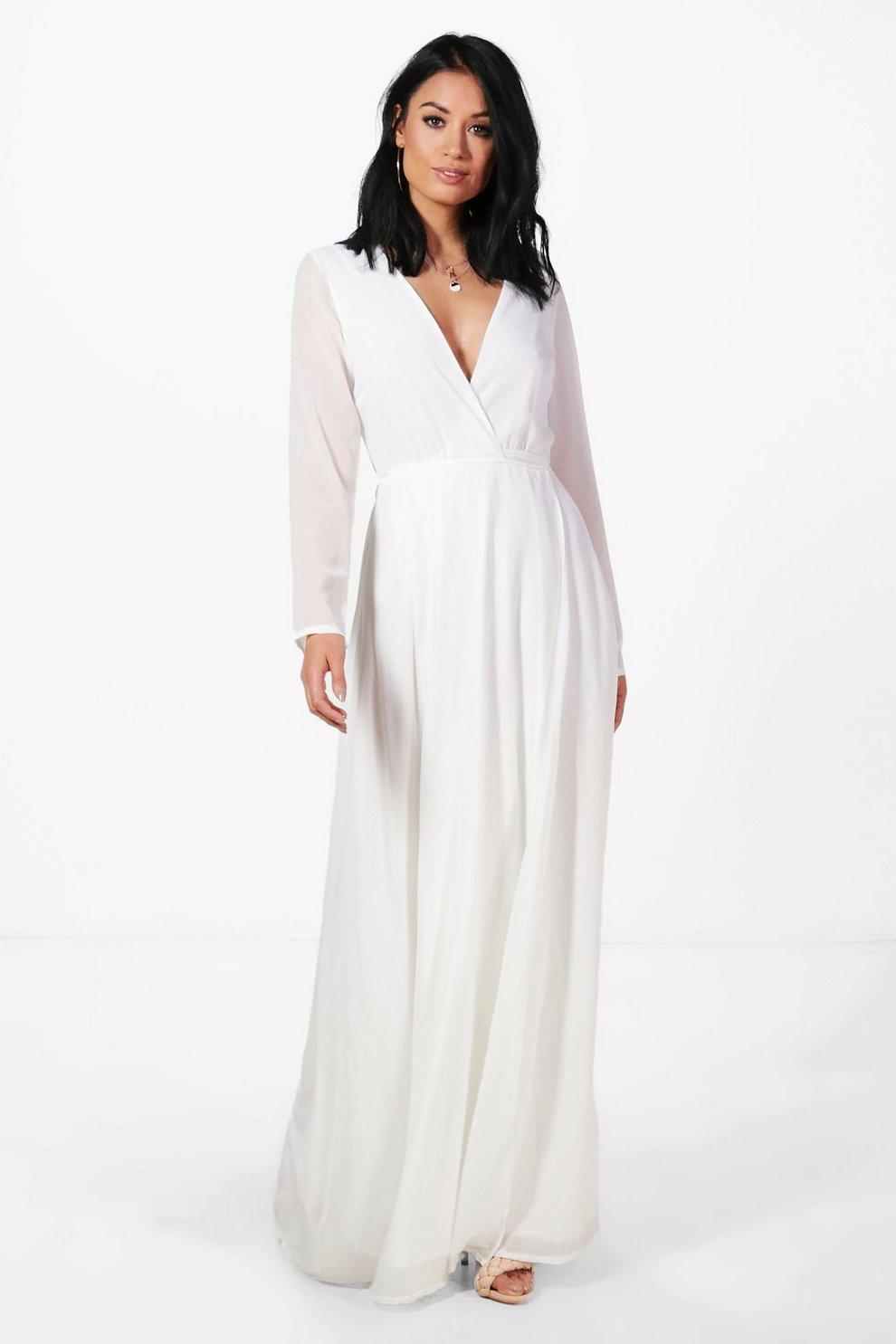 Long sleeve chiffon wrap maxi dress