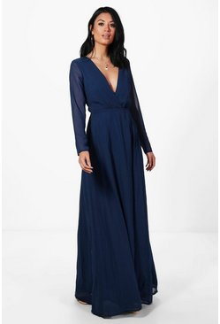 Dora Chiffon Long Sleeved Wrap Maxi Dress