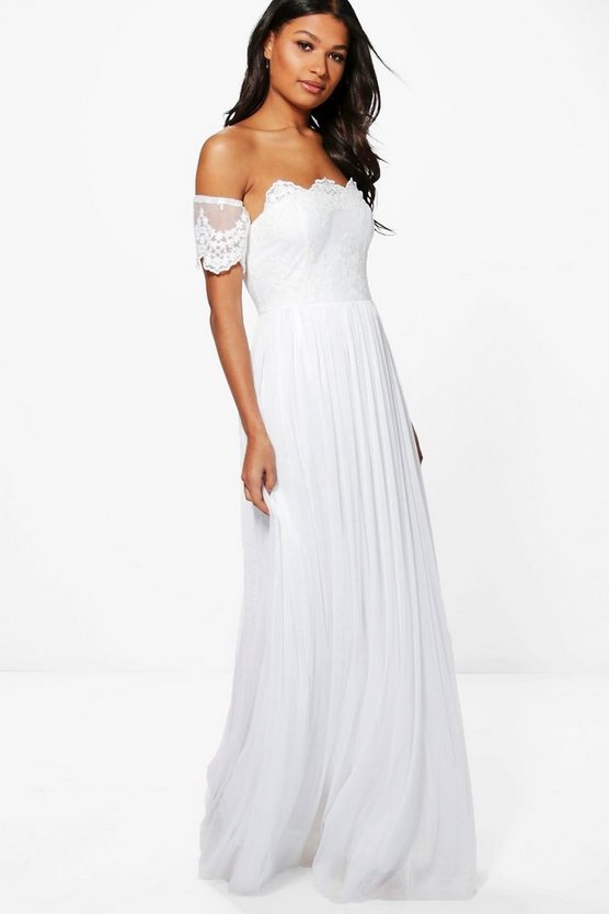 Boutique Erin Lace Off Shoulder Maxi Dress