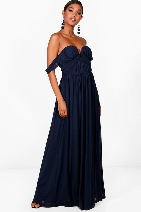 Boutique Amie Mesh Off Shoulder Maxi Dress
