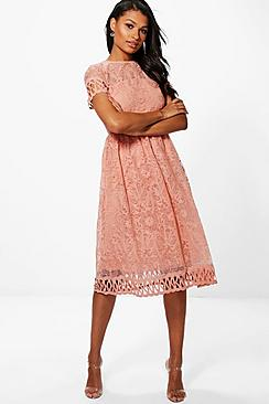 Boutique Emi Embroidered Trim Midi Skater Dress