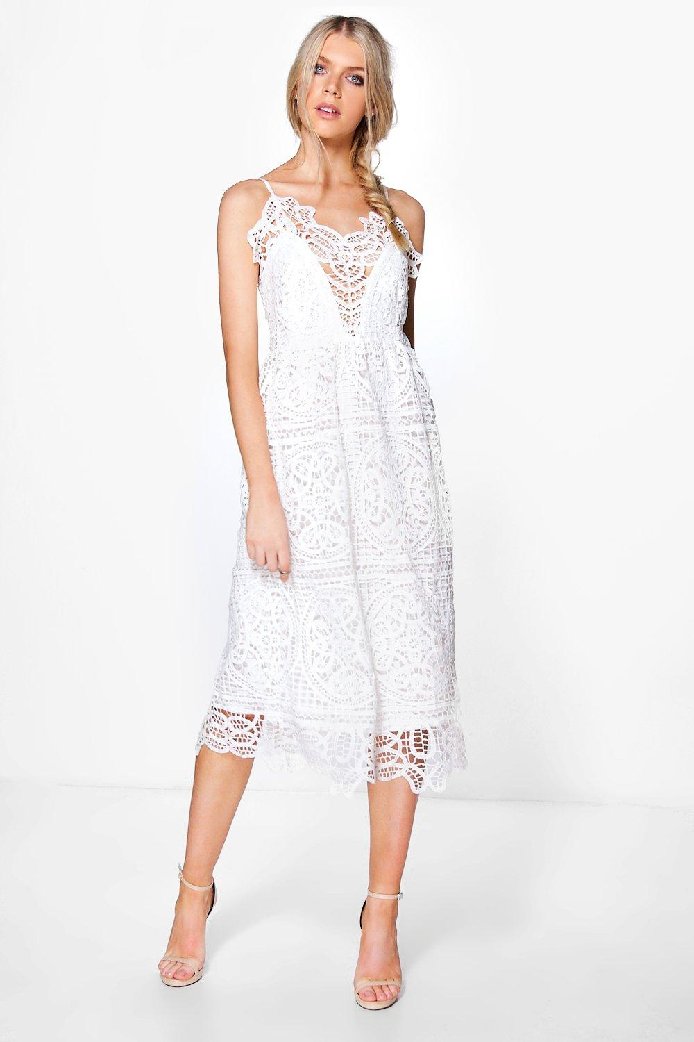 Boohoo womens boutique bea crochet panelled midi skater for Boutique wedding guest dresses