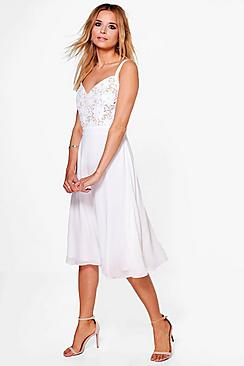 Boutique Lo Crochet Chiffon Skater Midi Dress