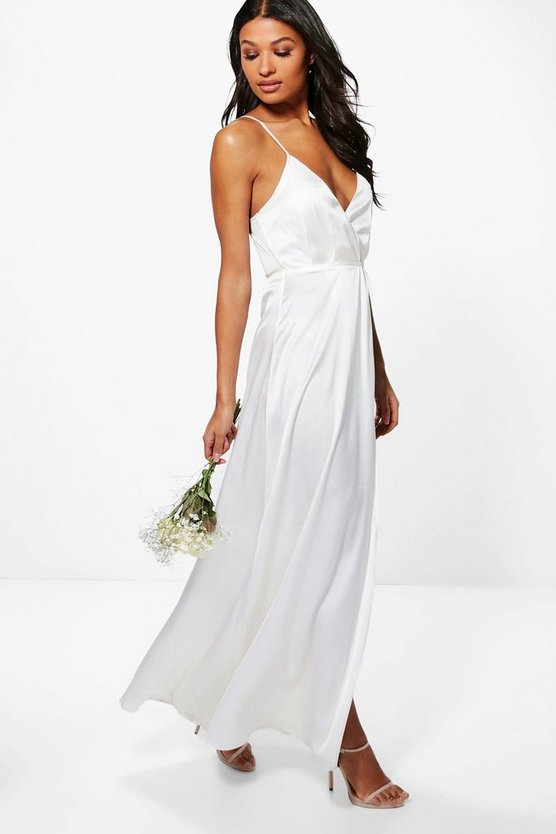 Boutique Ondine Satin Strappy Wrap Maxi Dress