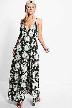 Karlie Satin Floral Print Wrap Maxi Dress