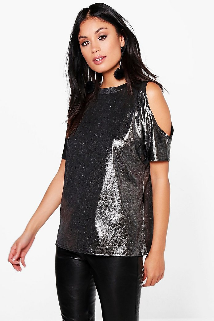 Naomi Metallic Cold Shoulder T-Shirt