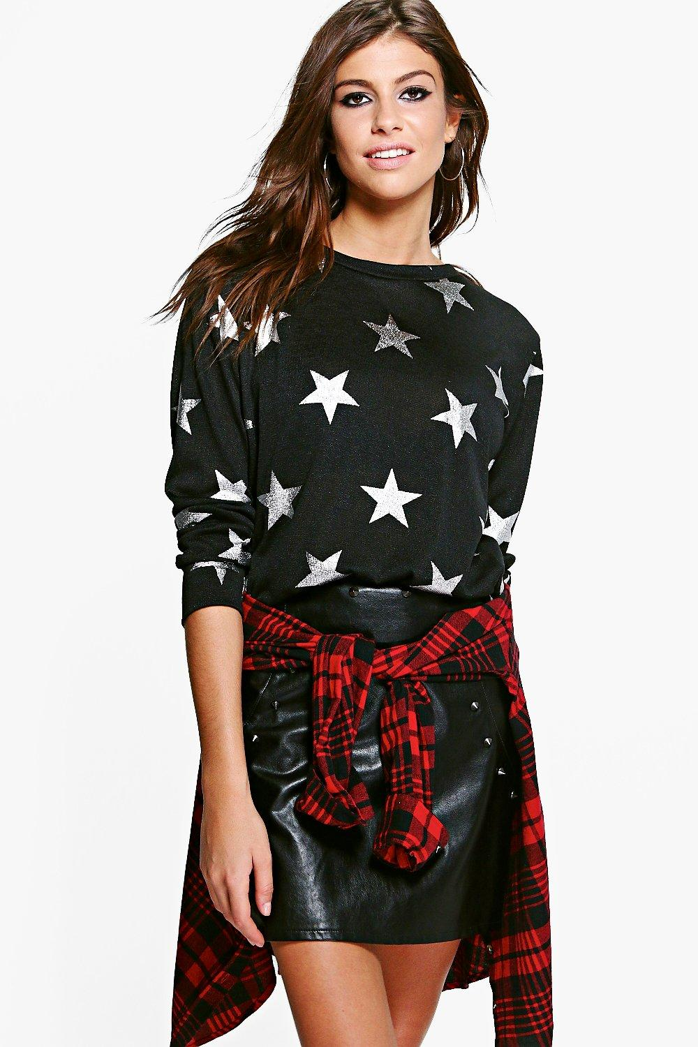 Sophie Star Metallic Print Sweater