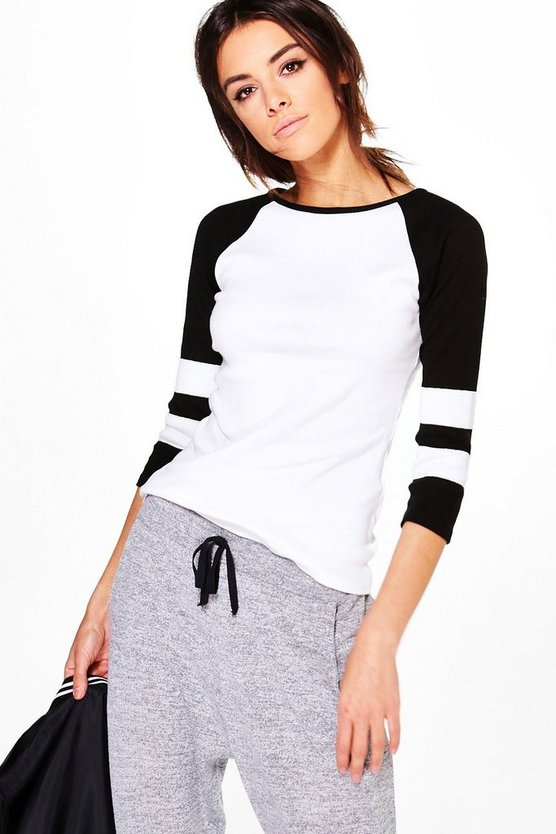 Holly Ribbed Raglan Baseball Top