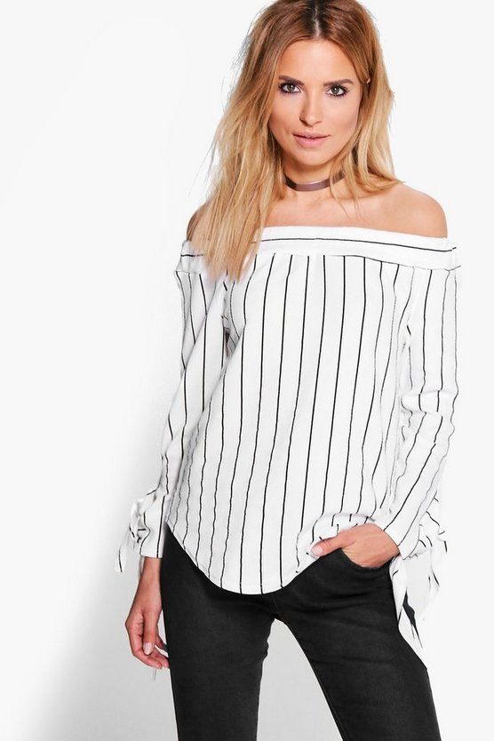 Silvia Mixed Stripe Off The Shoulder Top