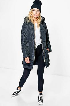 Mia Quilted Belted Coat With Faux Fur Hood