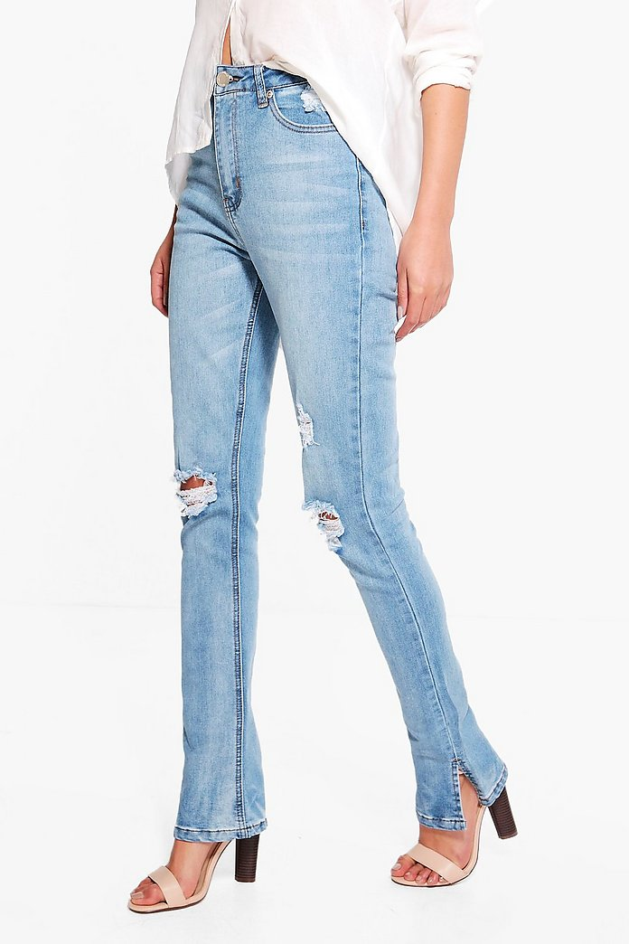 Abby High Waisted Distressed Kick Flare Jeans