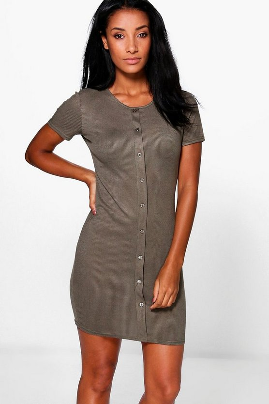 Danielle Rib Button Bodycon Dress