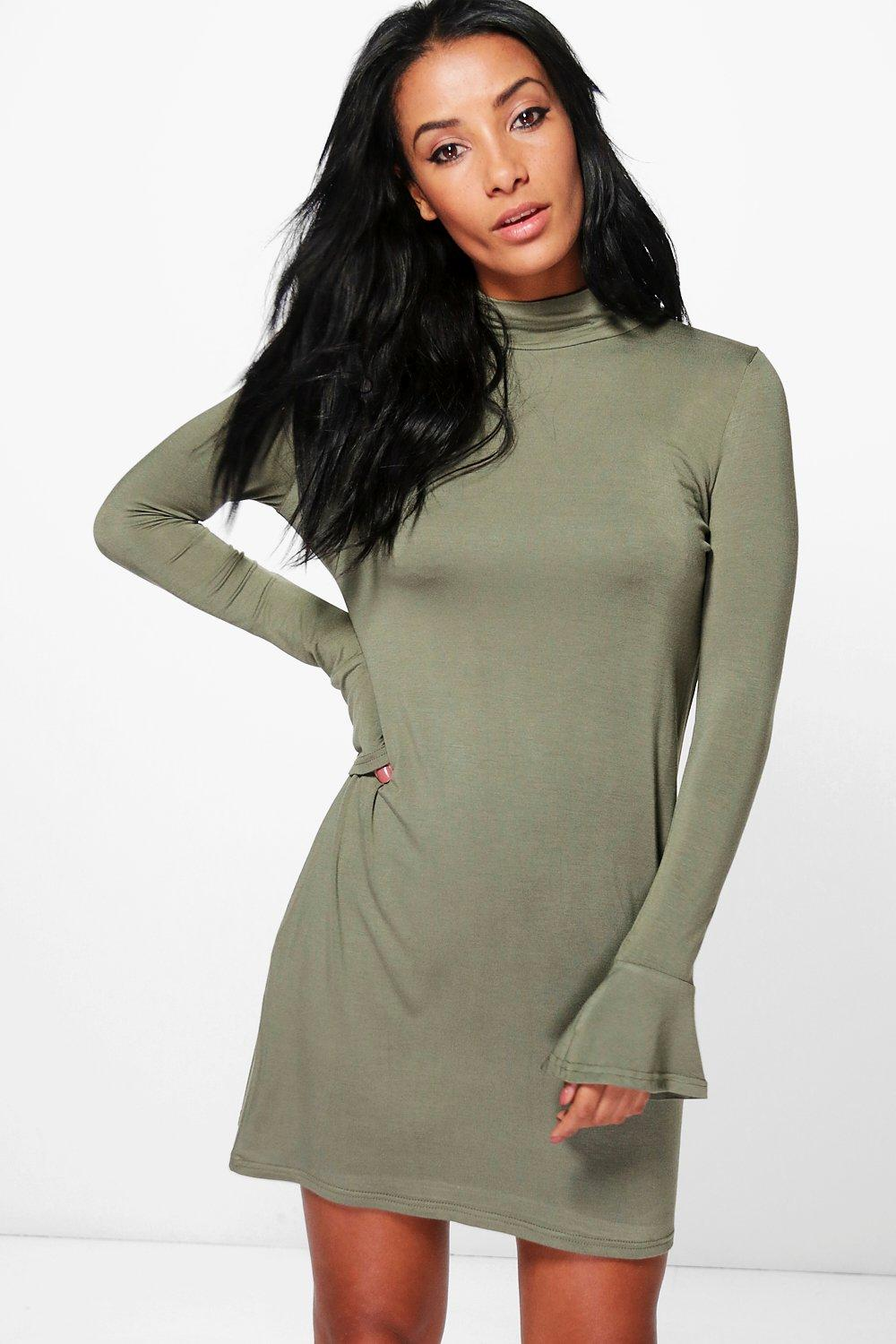 Click to view product details and reviews for High Neck Frill Cuff Shift Dress Khaki.